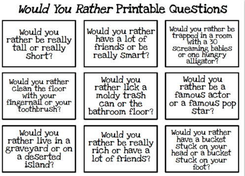 photo regarding Would You Rather Cards Printable known as Differentiated Education and learning - DSD Educated Growth